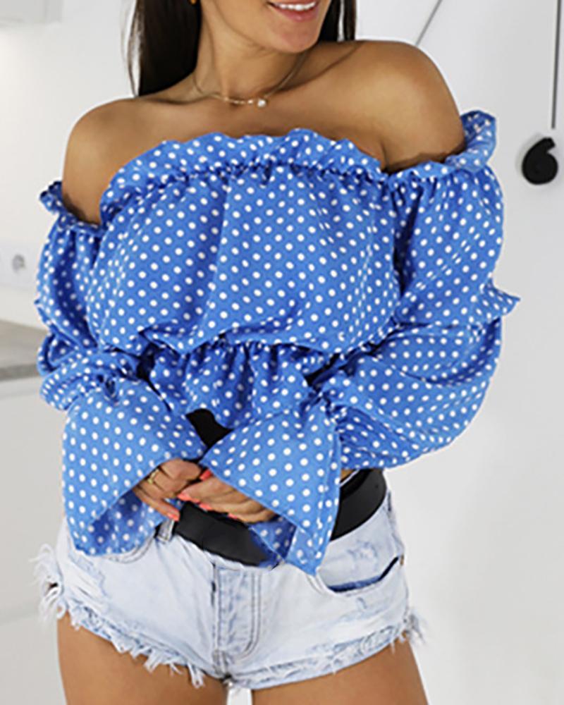 Off Shoulder Polka Dot Lantern Sleeve Blouse, Blue