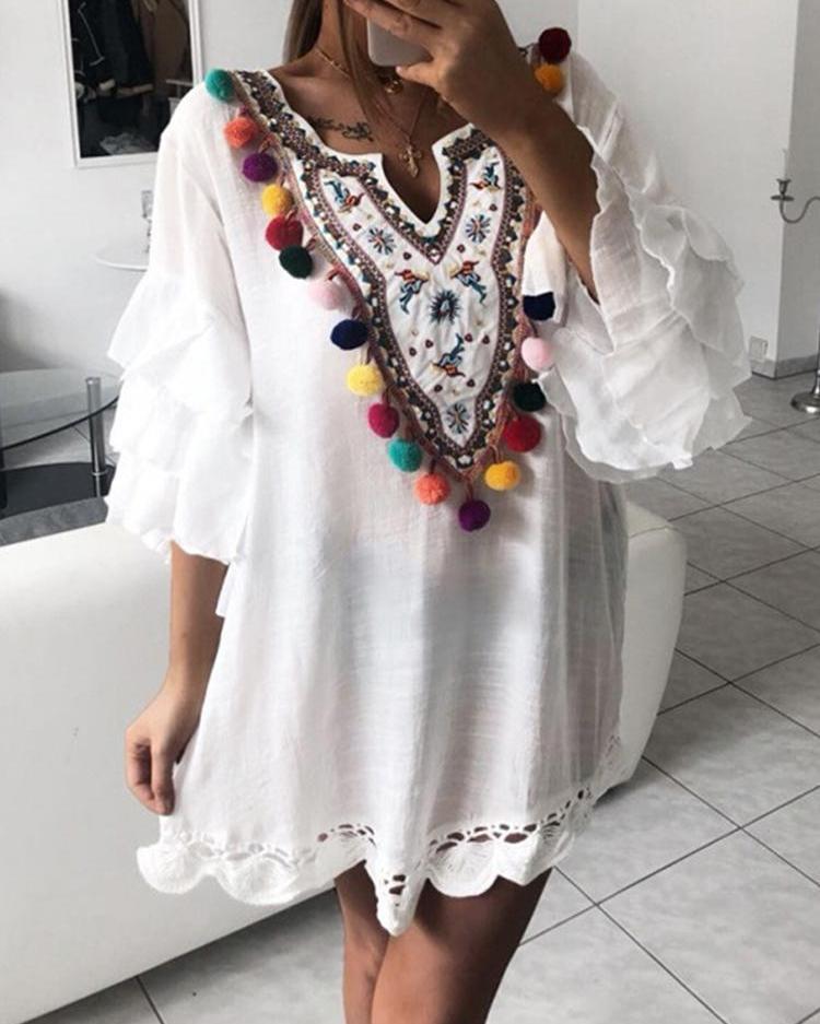Ethnic Print Pom Poms Tiered Sleeve Casual Dress фото