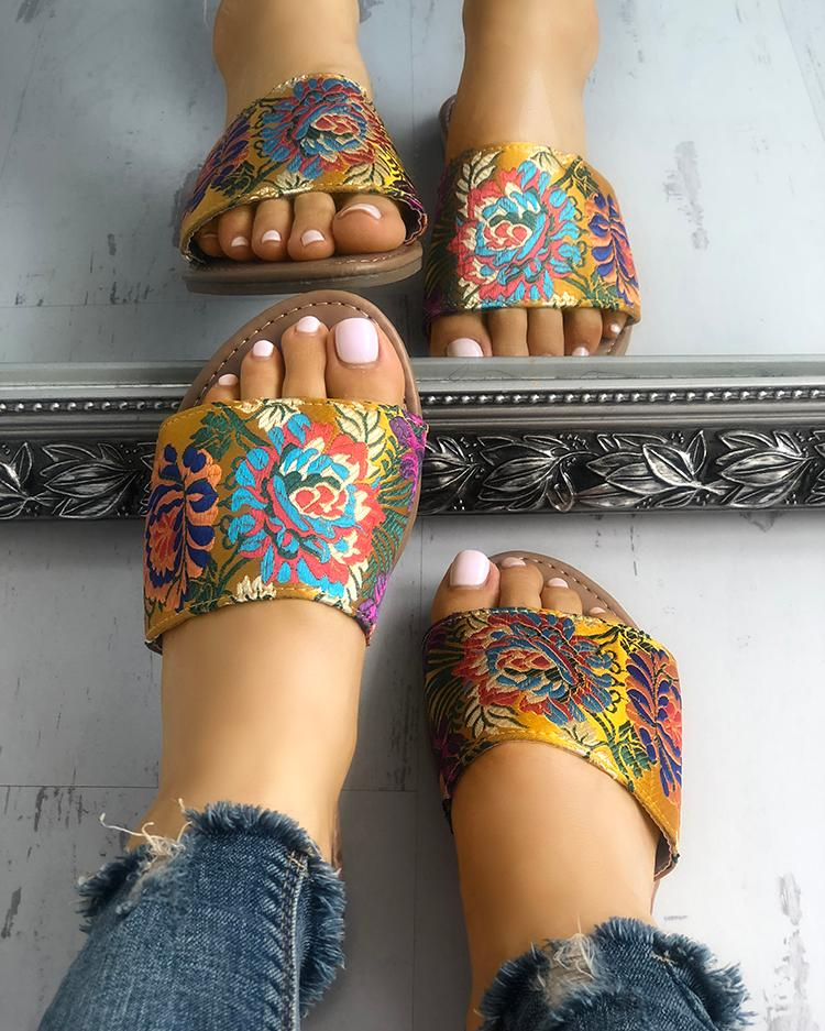 Floral Embroidery Single Strap Open Toe Slipper, Yellow
