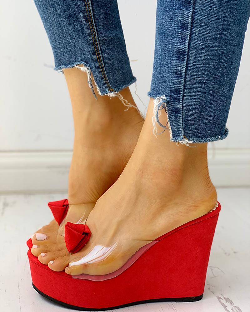 Transparent Peep Toe Platform Wedge Sandals