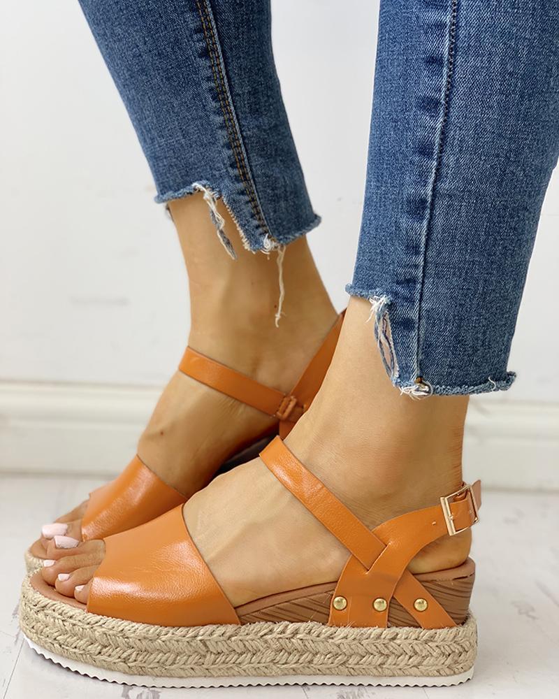 boutiquefeel / Peep Toe sandalias trenzadas de cuña