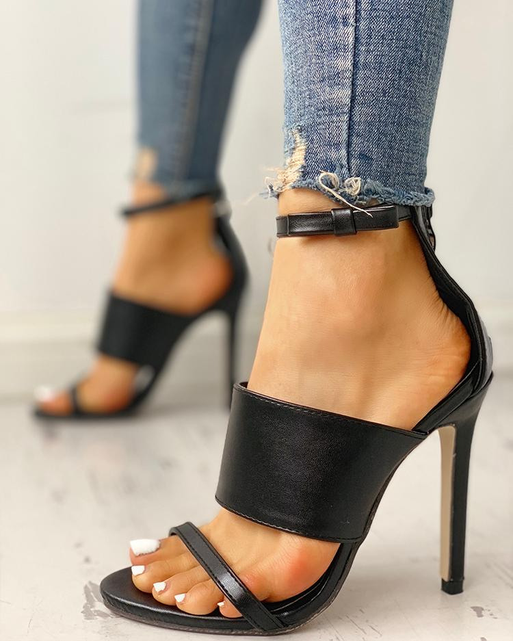 joyshoetique / Open Toe Ankle Strap Thin Heeled Sandals