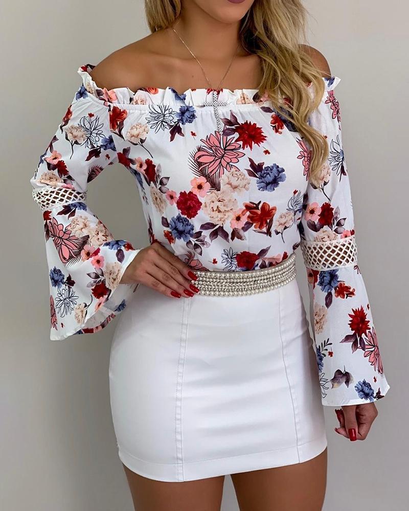 chicme / Frill Hem Bell Sleeve Blusa Estampa Floral