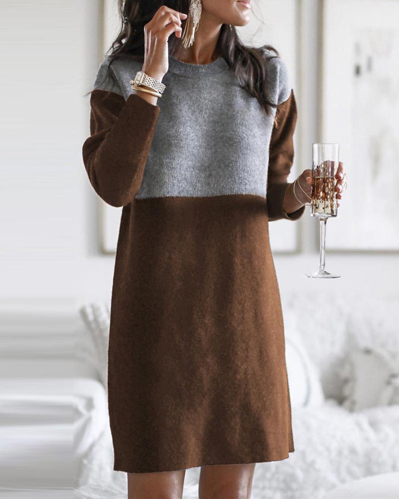 Colorblock Long Sleeve Casual Midi Dress фото