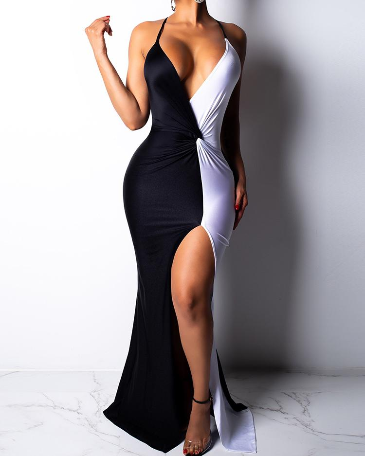 ivrose / Dois tom torção cintura coxa fenda vestido de noite