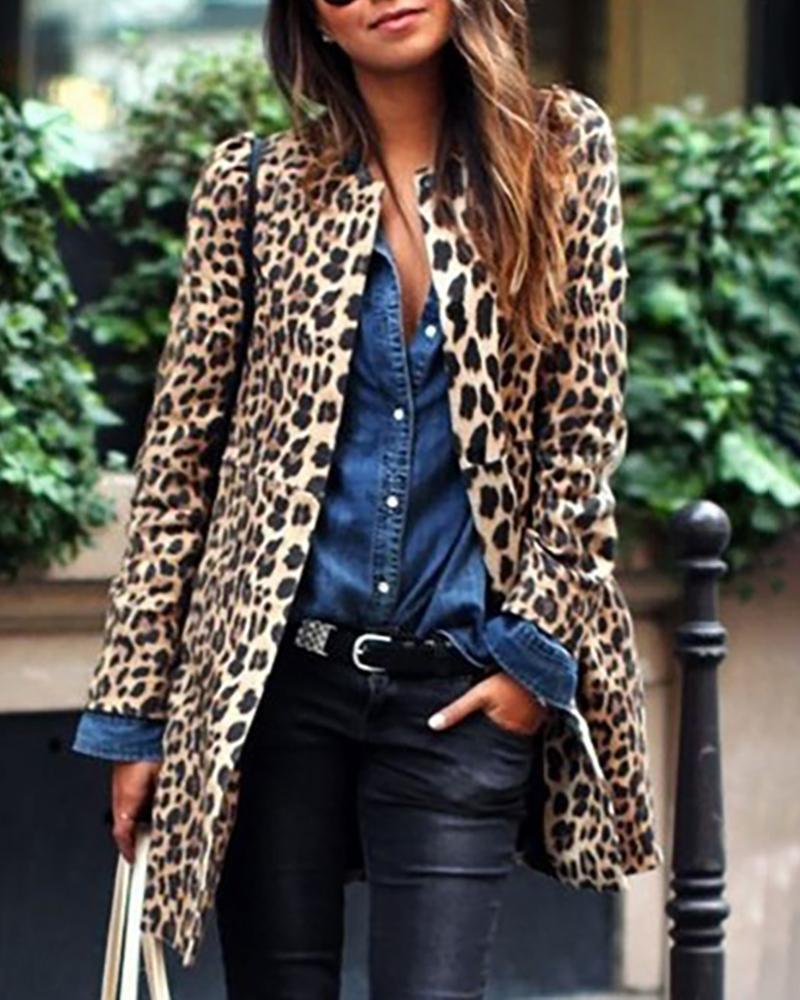 Leopard Print Long Sleeve Casual Longline Coat фото