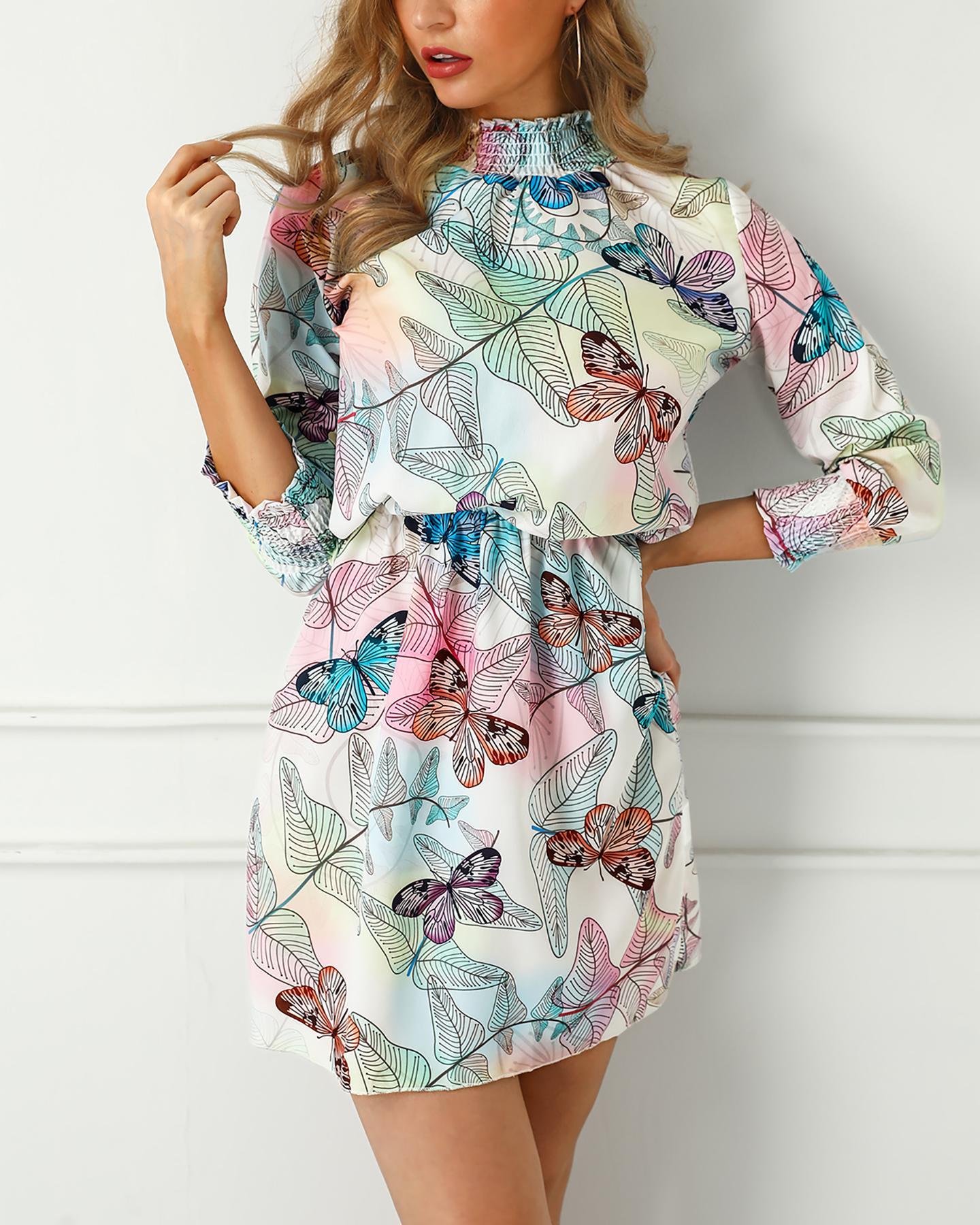 Shirring Detail Leaf Print Casual Dress фото