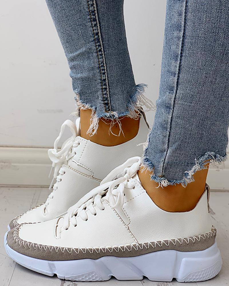 joyshoetique / Contrast Stitch Lace-Up Muffin Sneakers
