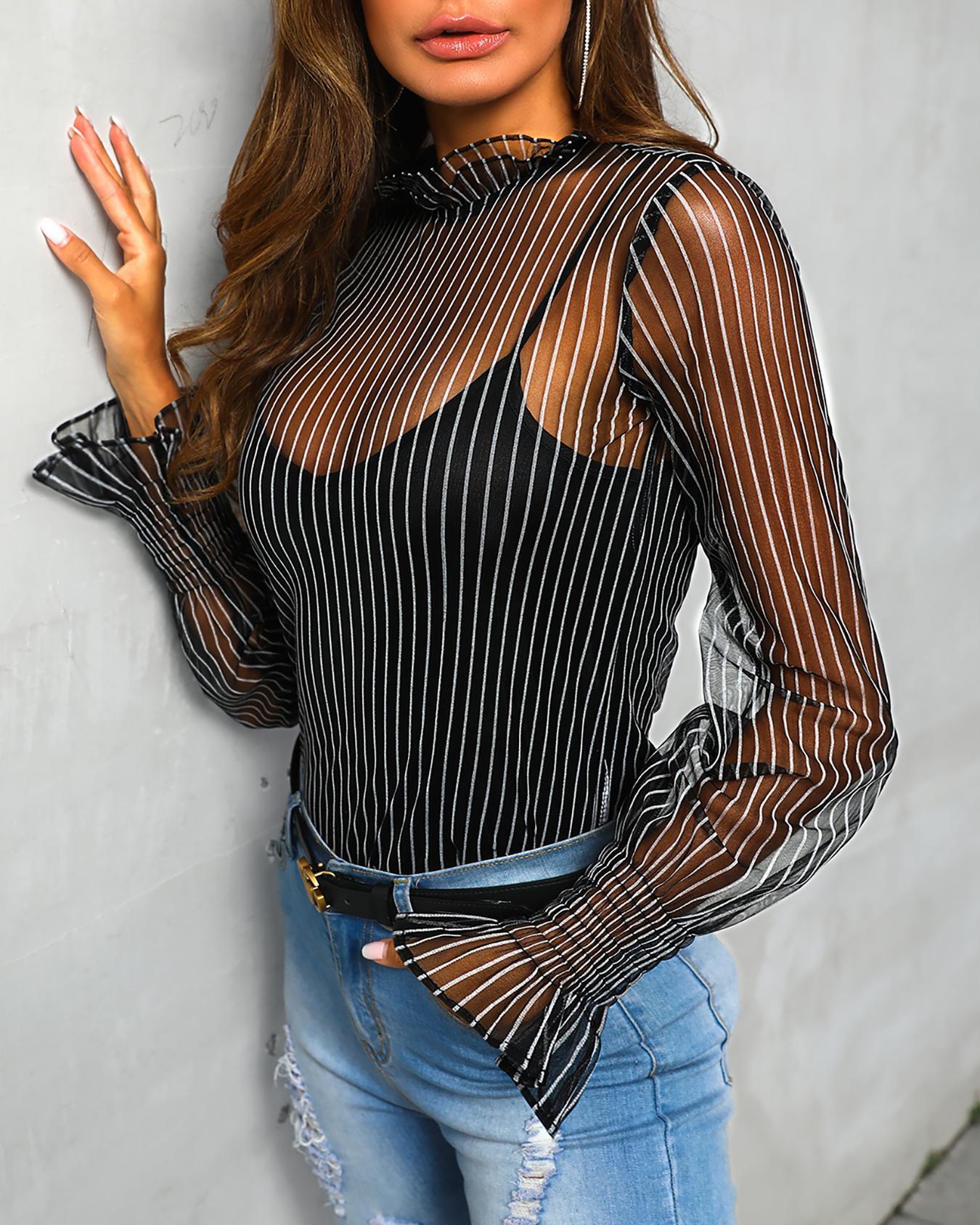 ivrose / Blusa de malla de rayas escarpadas