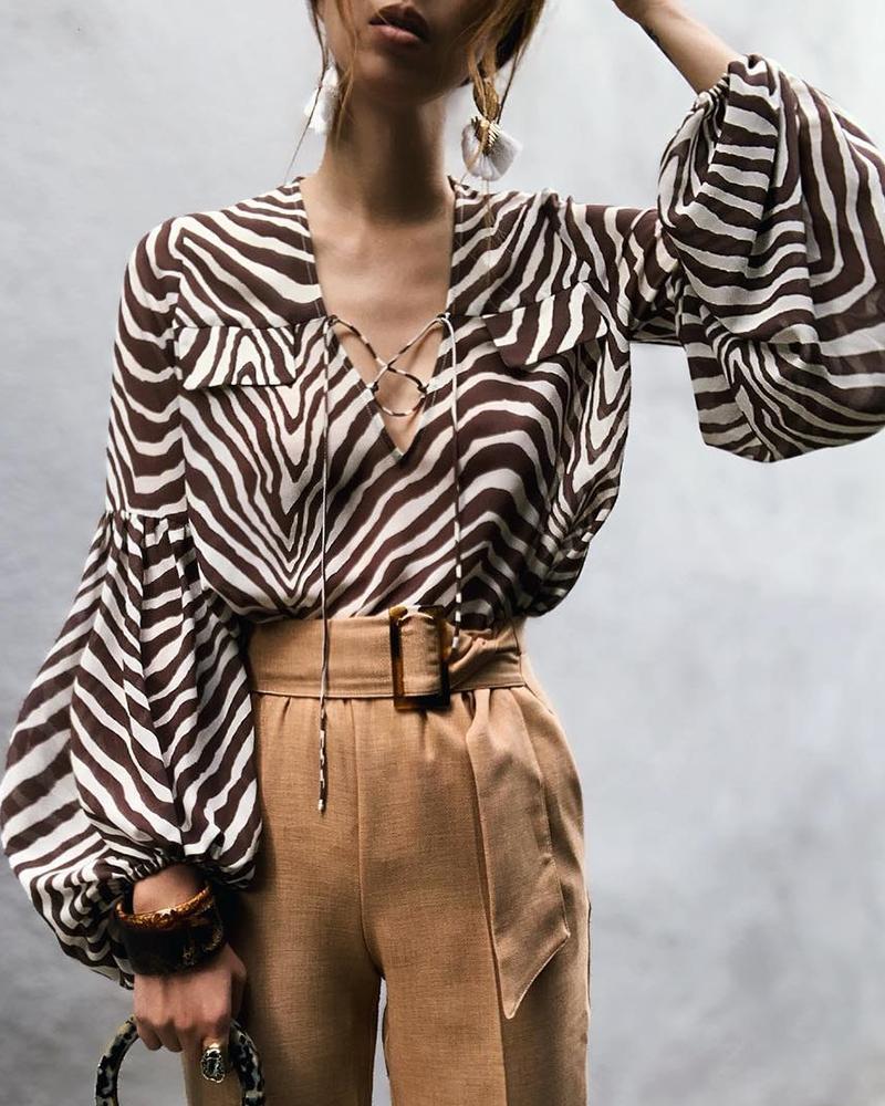 ivrose / Blusa Casual com Estampa de Zebra