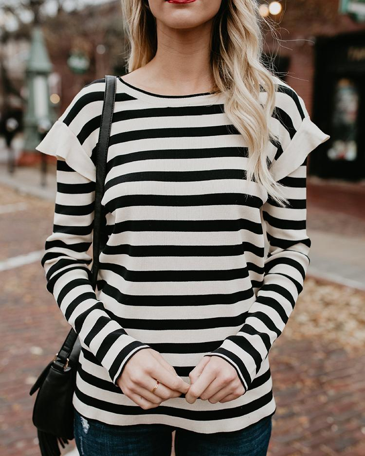 Stripes Frilled Casual T-shirt фото