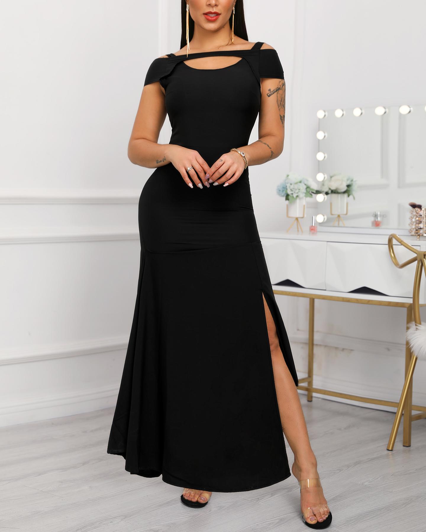 Cold Shoulder Slit Maxi Dress фото
