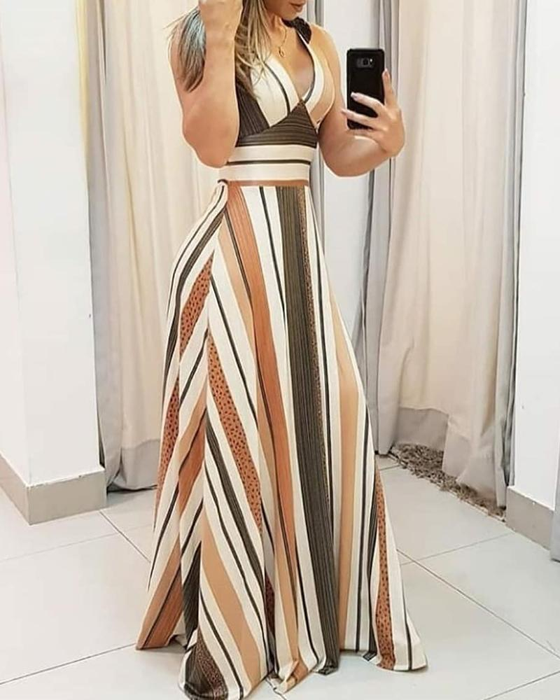 Striped Colorblock Plunge Maxi Dress фото