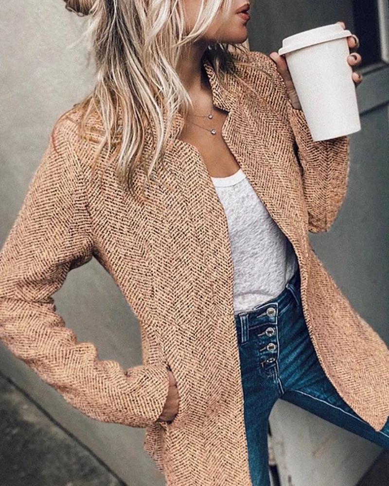 joyshoetique / Pocket Design Long Sleve Casual Coat