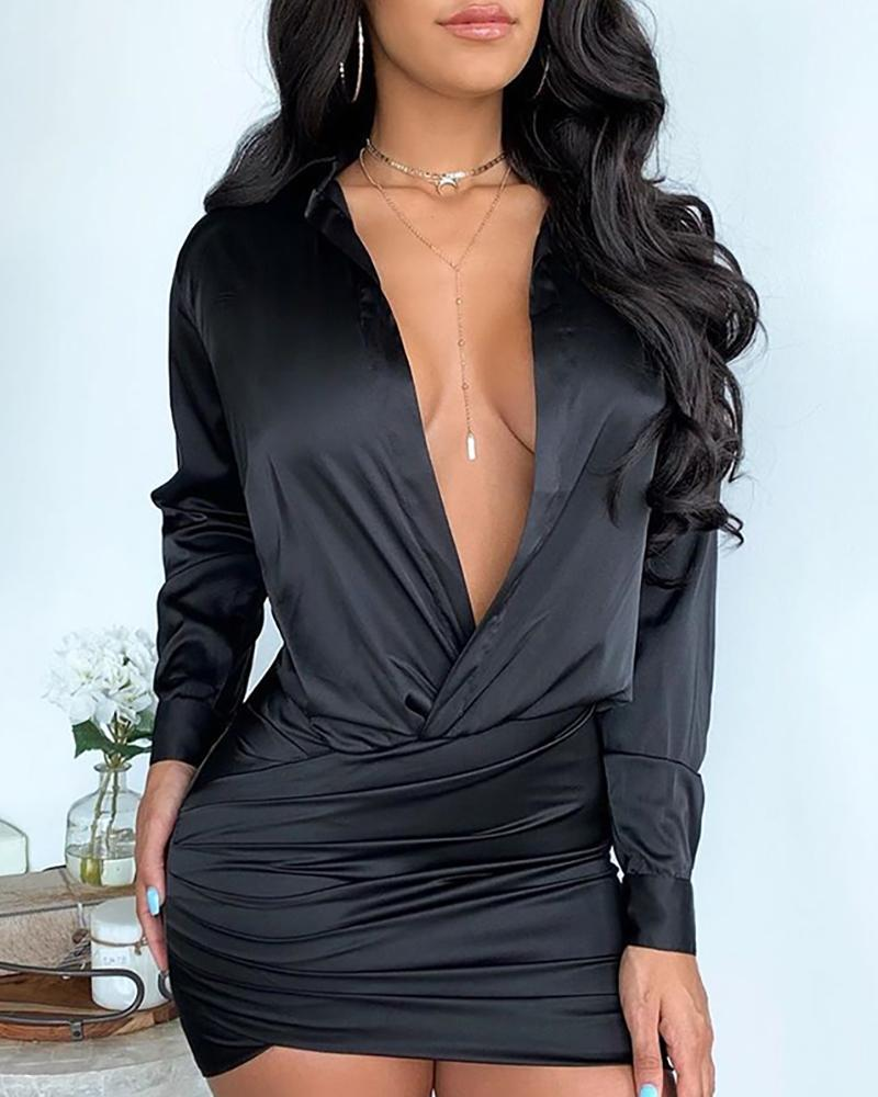 Solid Deep V Crisscross Ruched Dress фото