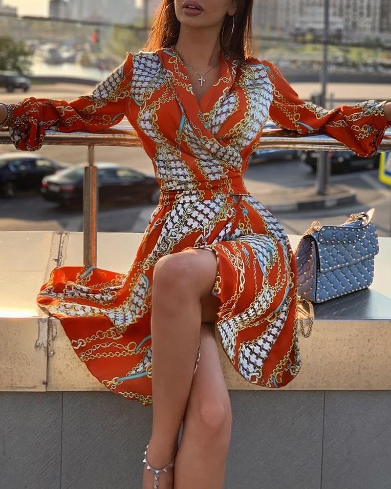 Long Sleeve Chain Print Casual Dress