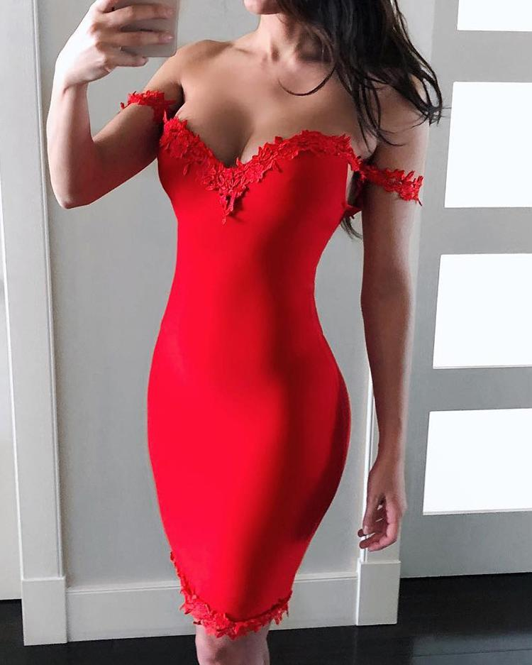 Sweetheart Contrast Lace Sheath Dress фото