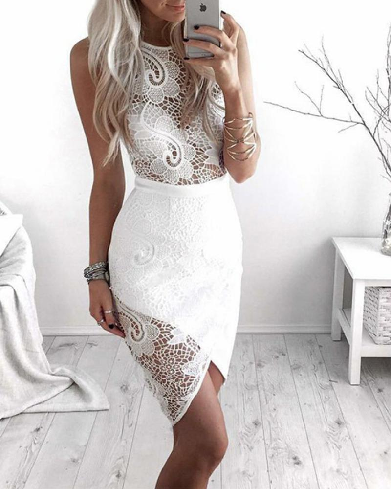 joyshoetique / Solid Color Splicing Lace Fishnet Sleeveless Skinny Midi Dress