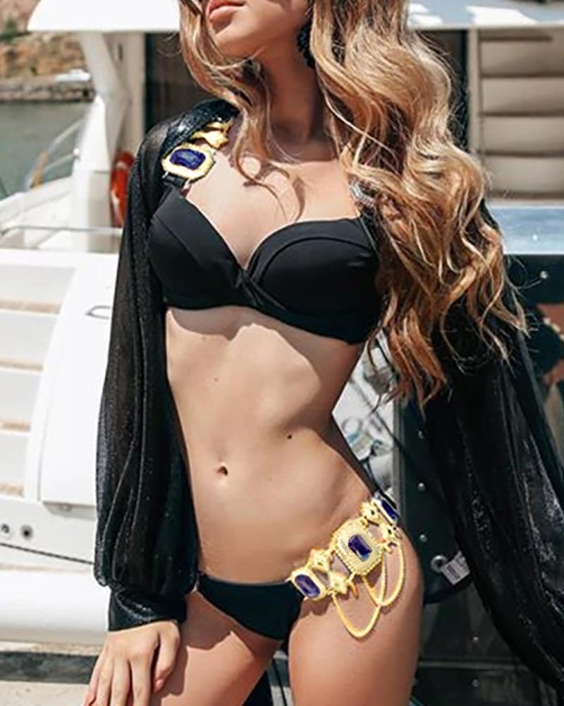 chicme / Conjunto de bikini con tachuelas y tirantes finos