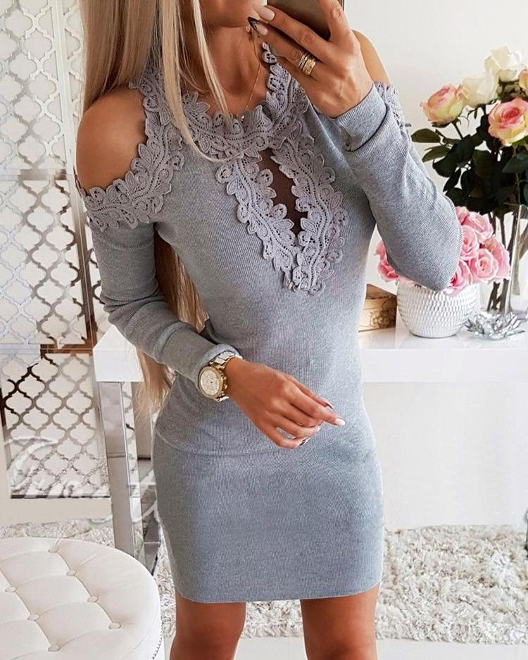 Guipure Lace Cold Shoulder Bodycon Dress, Gray