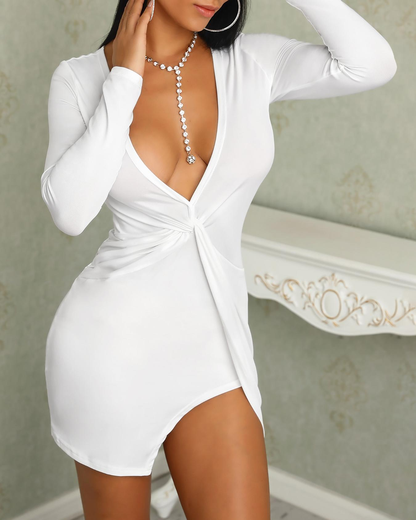 chicme / Solid Twisted Design Long Sleeve Slit Mini Dress