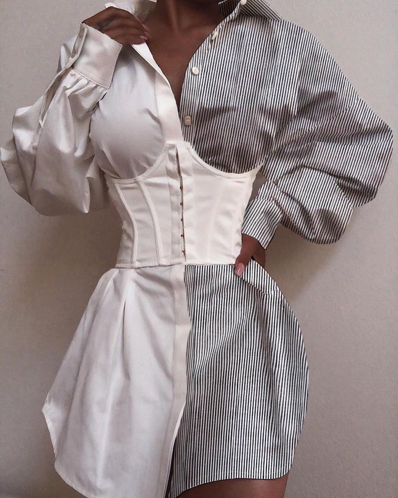 Turn-down Collar Pinstripes Colorblock Buttoned Shirt Dress фото