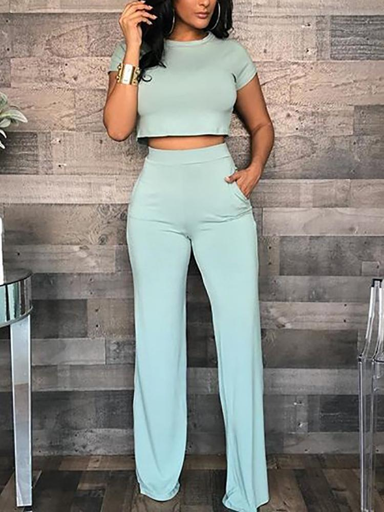 chicme / Solid Short Sleeve Crop Top & Pants Sets