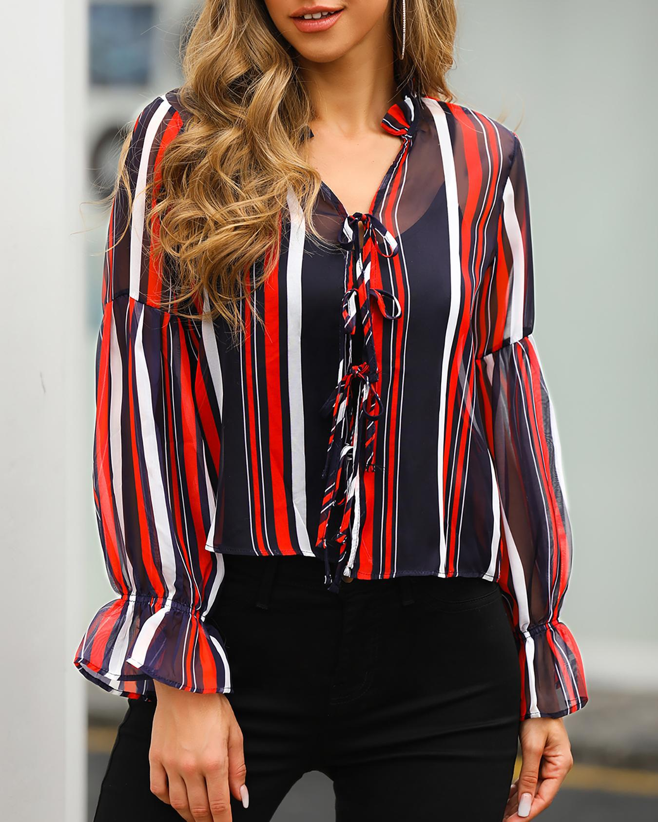 Colorful Striped Ruffles Cuff Tied Casual Shirt