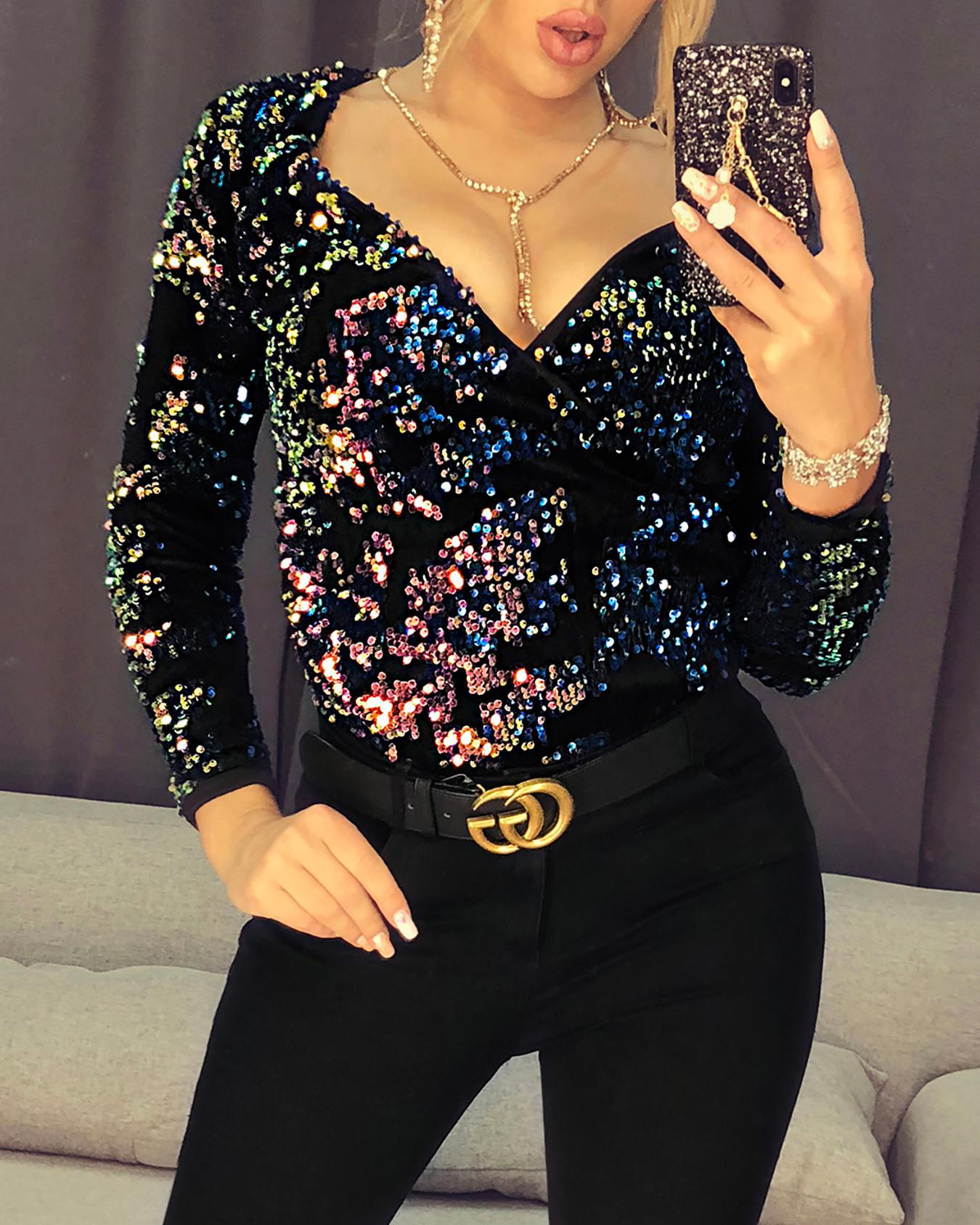 V-Neck Wrap Colorful Sequin Top