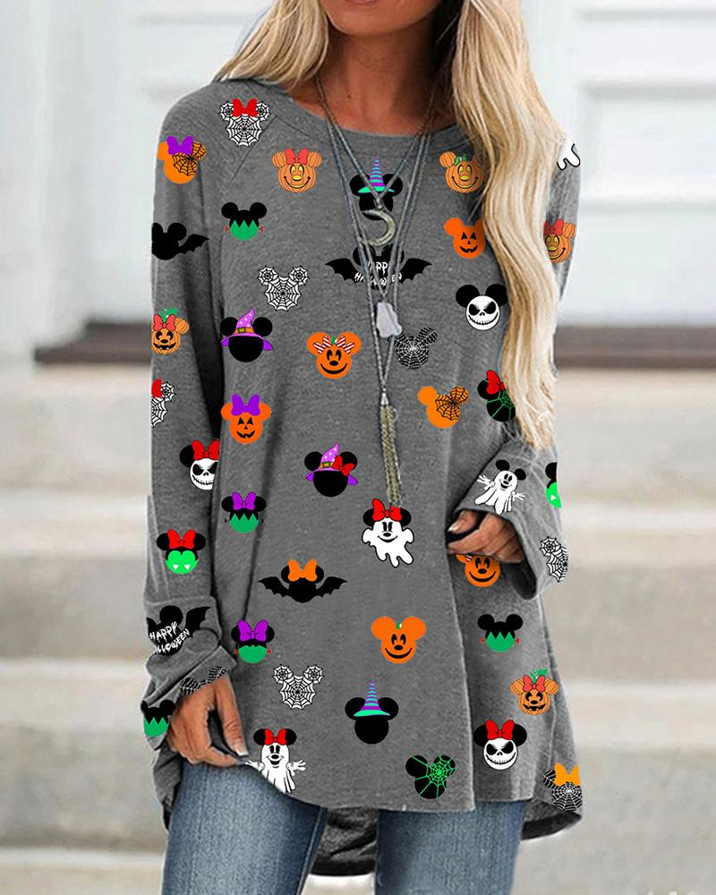 Halloween Pumpkin Micky Pattern Print Casual Top фото