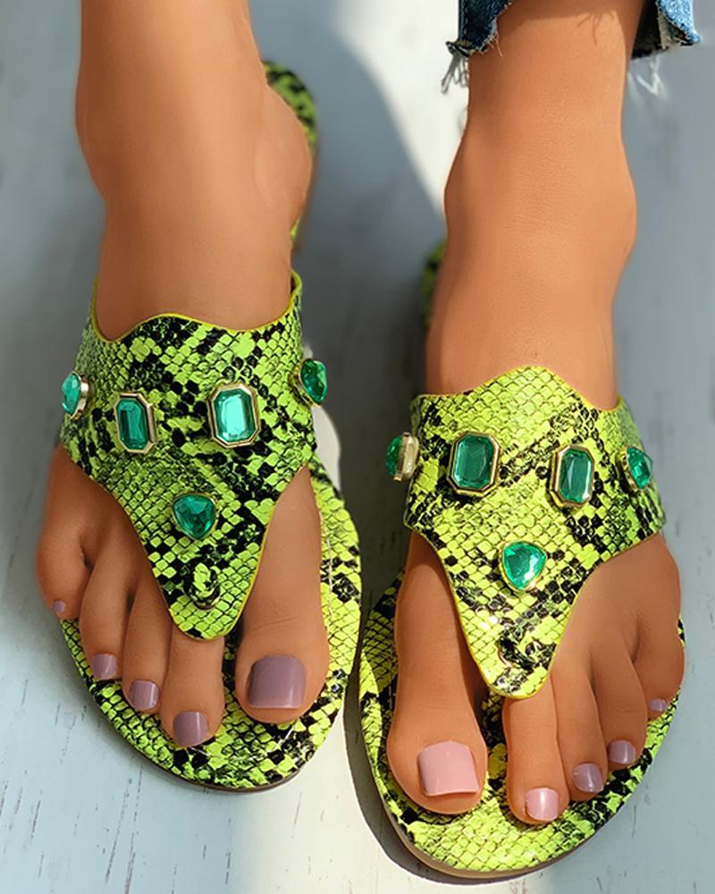Toe Post Gem Decor Snakeskin Pattern Flat Sandals фото