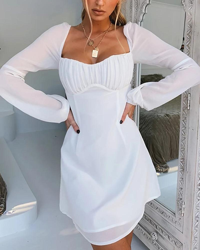 Low Cut Long Sleeve Knotted Ruched Dress фото