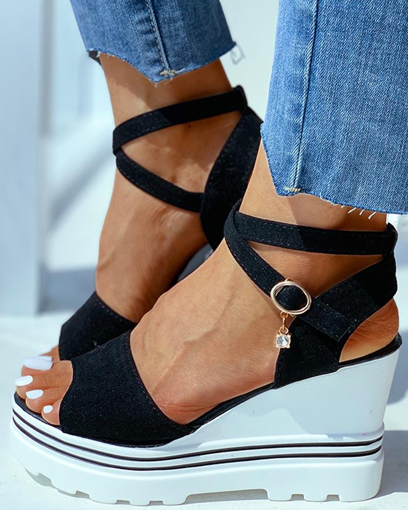 joyshoetique / Peep Toe Solid Wedge Heeled Sandals
