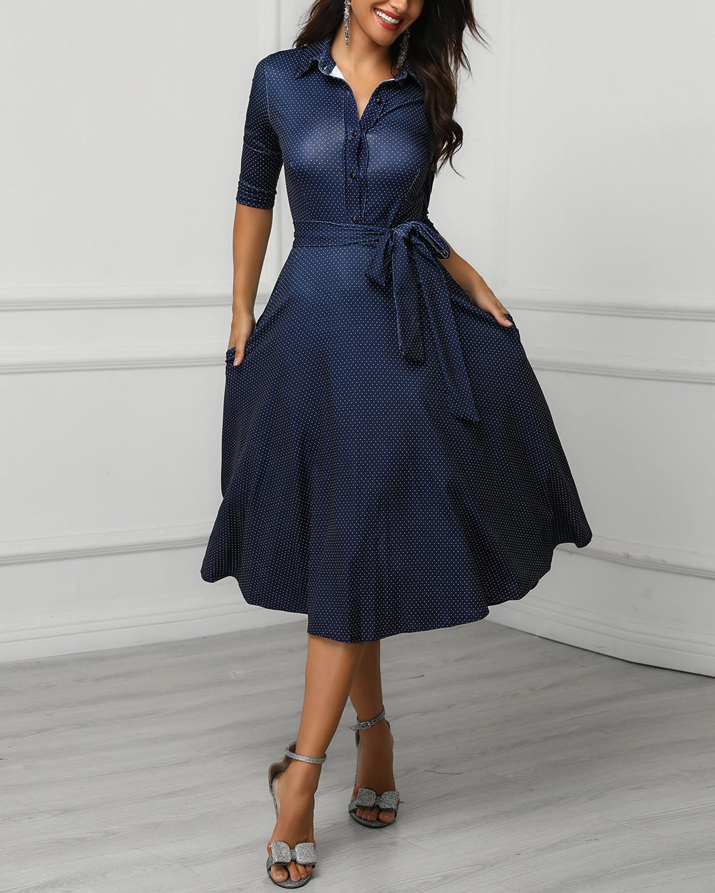 Dots Tie Waist Pleated Shirt Dress