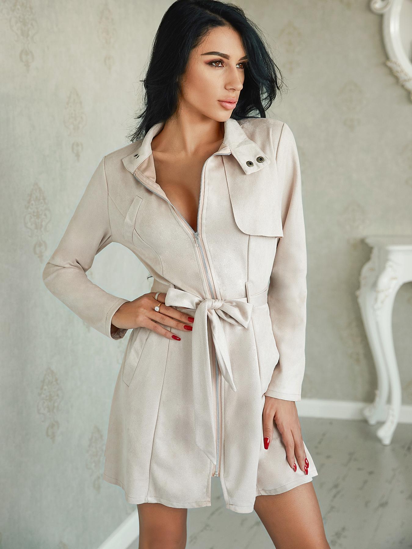 Trendy Zipper Front Pocket Design Belted Coats фото