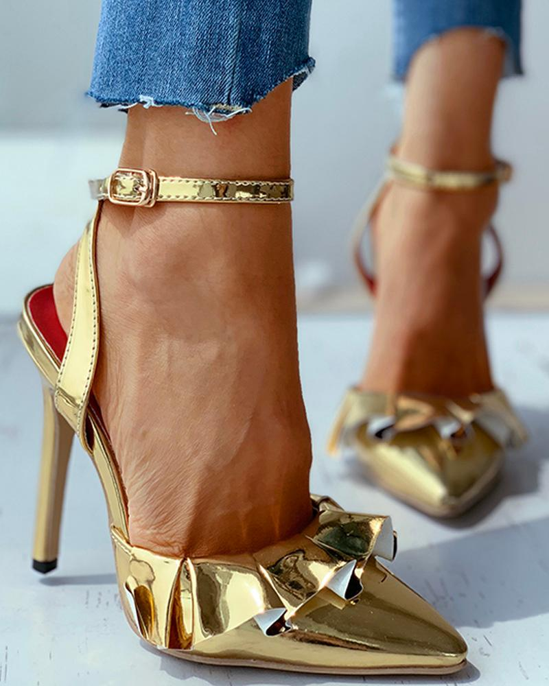 chicme / Ruffles Solid Thin Heeled Sandals