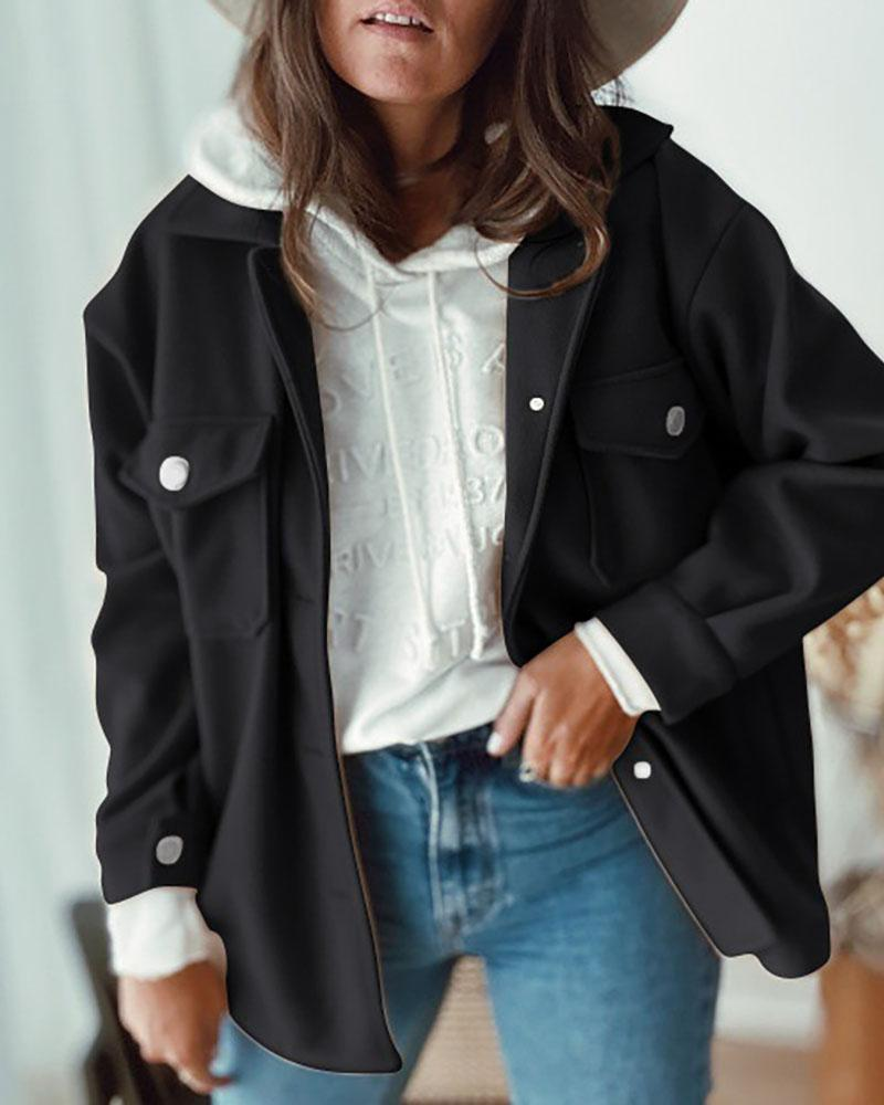 chicme / Buttoned Pocket Design Long Sleeve Casual Coat