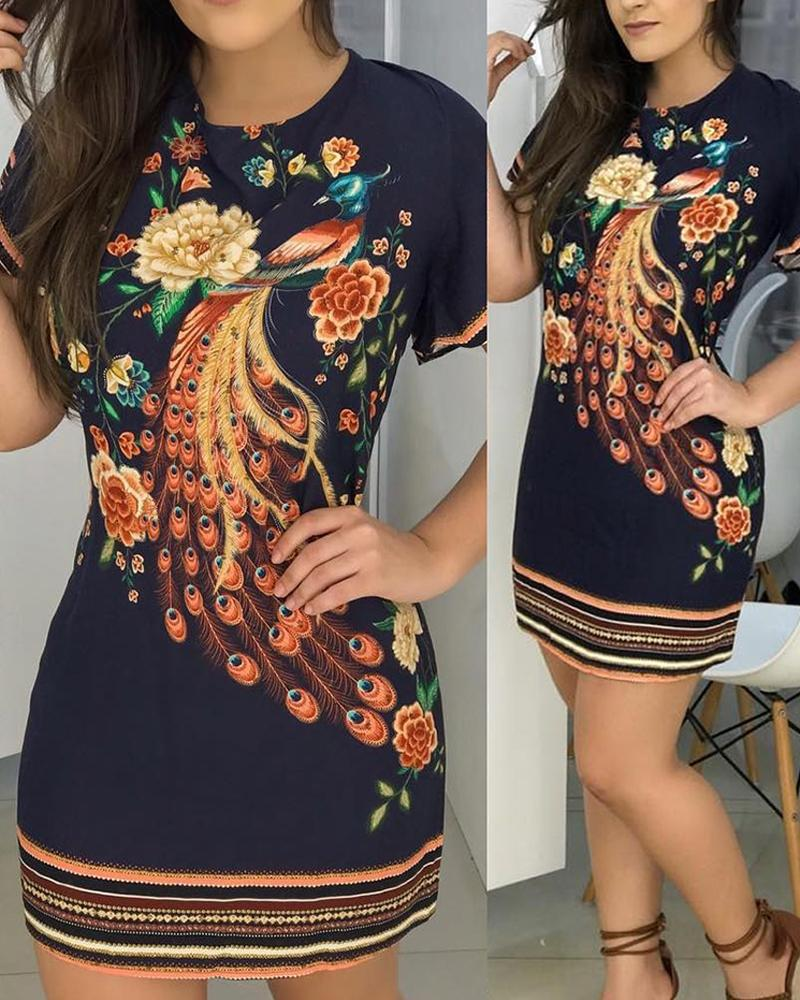 Floral Peacock Print Short Sleeve Dress фото