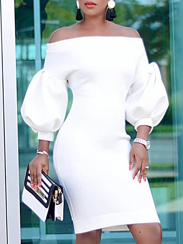 Puff Sleeve Off Shoulder Bodycon Dress