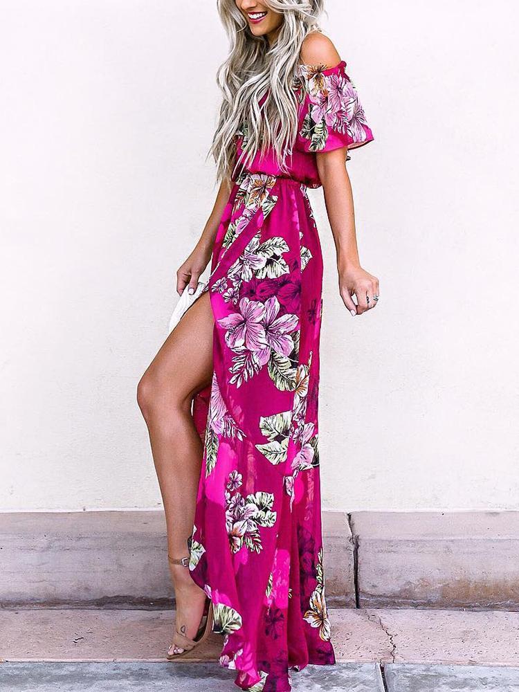 Floral Print Off Shoulder Ruffles Slit Maxi Dress