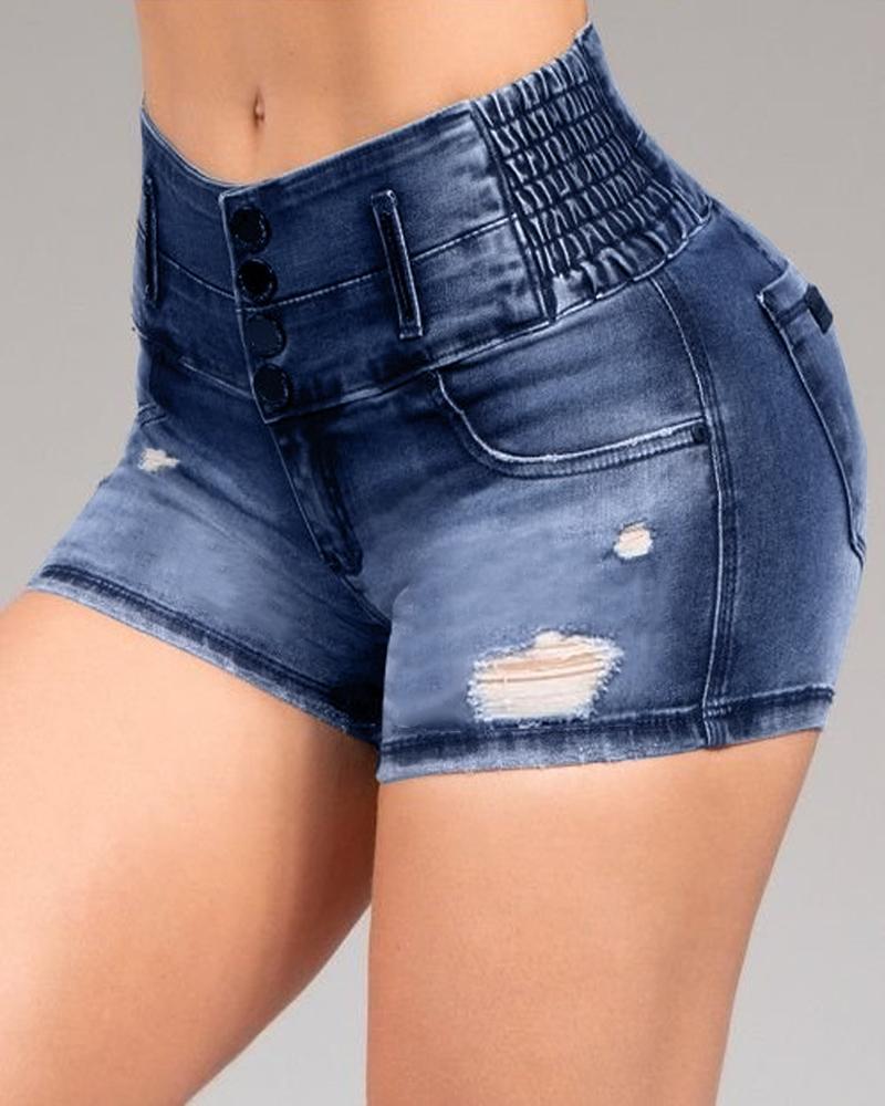 ivrose / Pantalones cortos de mezclilla de cintura alta desgastados