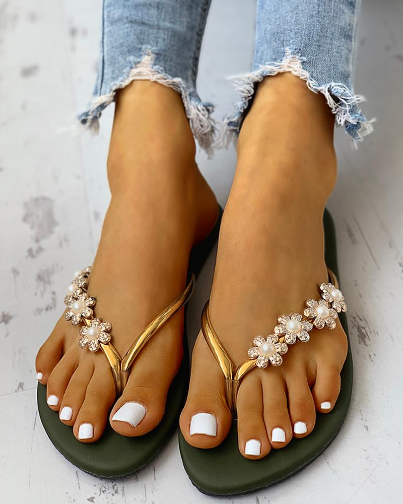 Flower Embellished Toe Flat Sandals фото