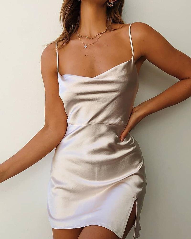 Satin Cami Mini Dress фото