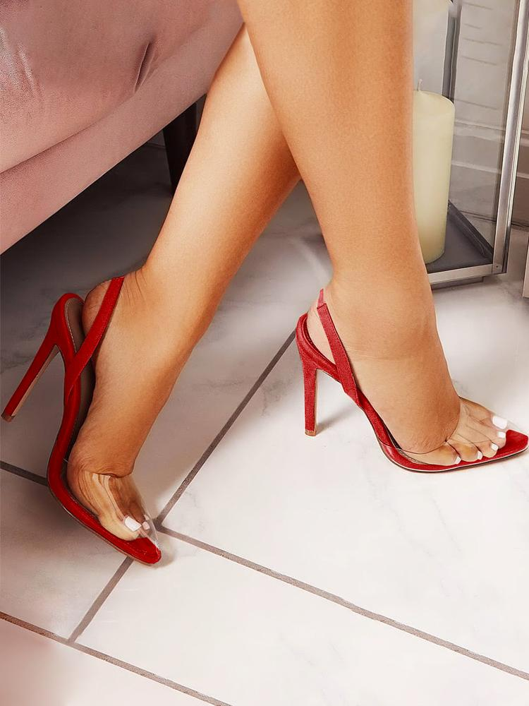 Transparent Point Toe Thin Heeled Sandals