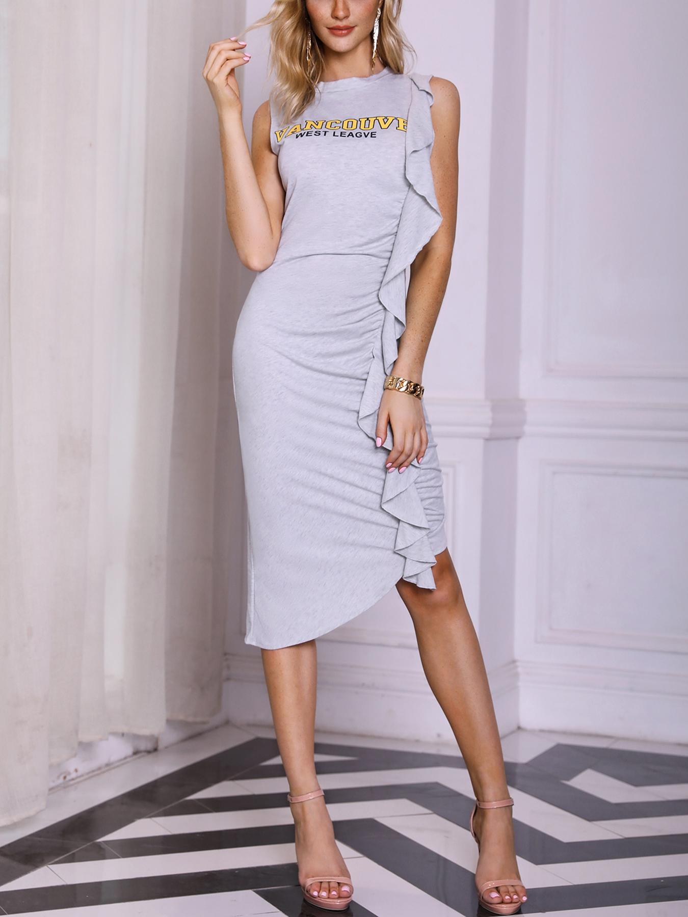 Letter Print Ruffle Ruched Irregular Dress, Blue;white