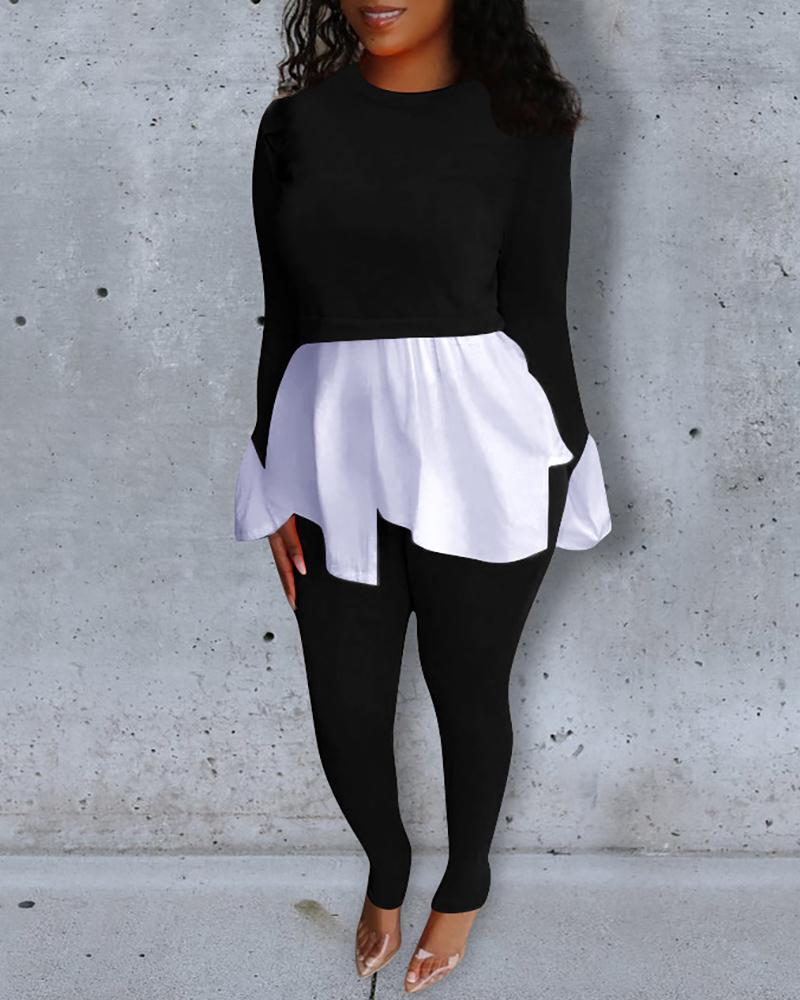 chicme / Round Neck Colorblock Insert Ruffles Top & Pants Sets