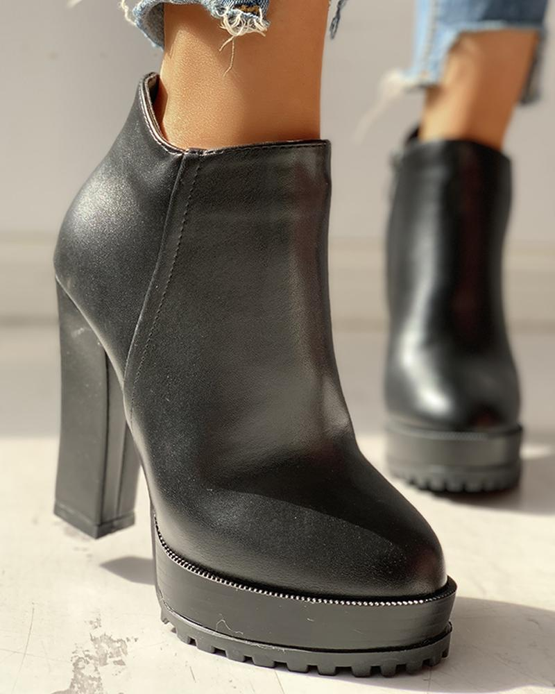 PU Platfrom Chunky Ankle Boots, Black