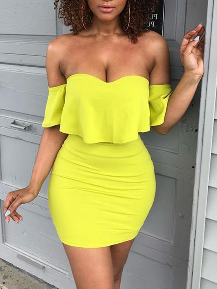 Solid Sweetheart Off Shoulder Ruffles Mini Dress, Yellow