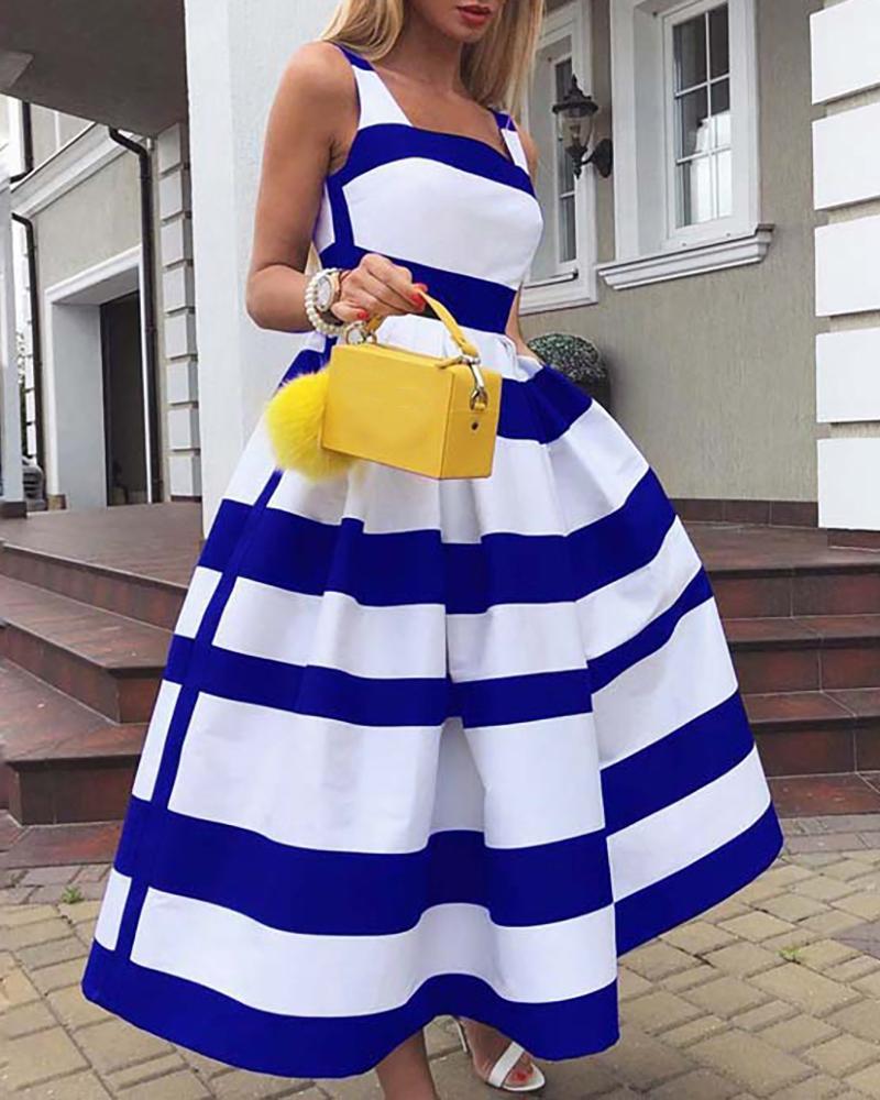 Striped Colorblock Thick Strap Maxi Dress фото