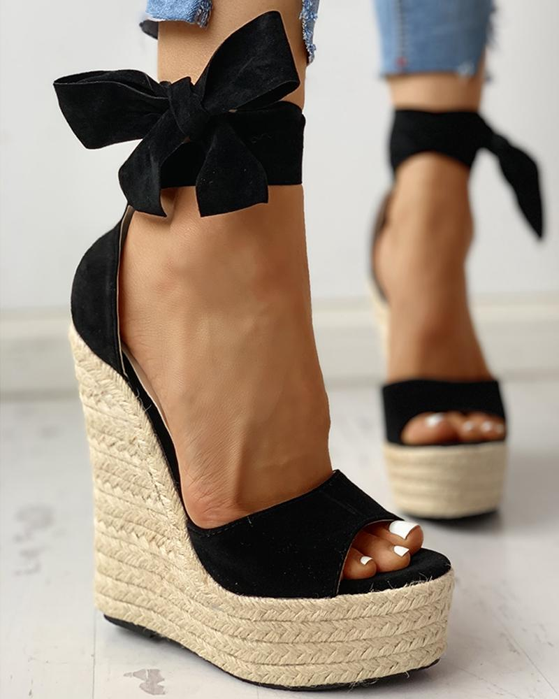 Colorblock Bowknot Platform Espadrille Sandals фото
